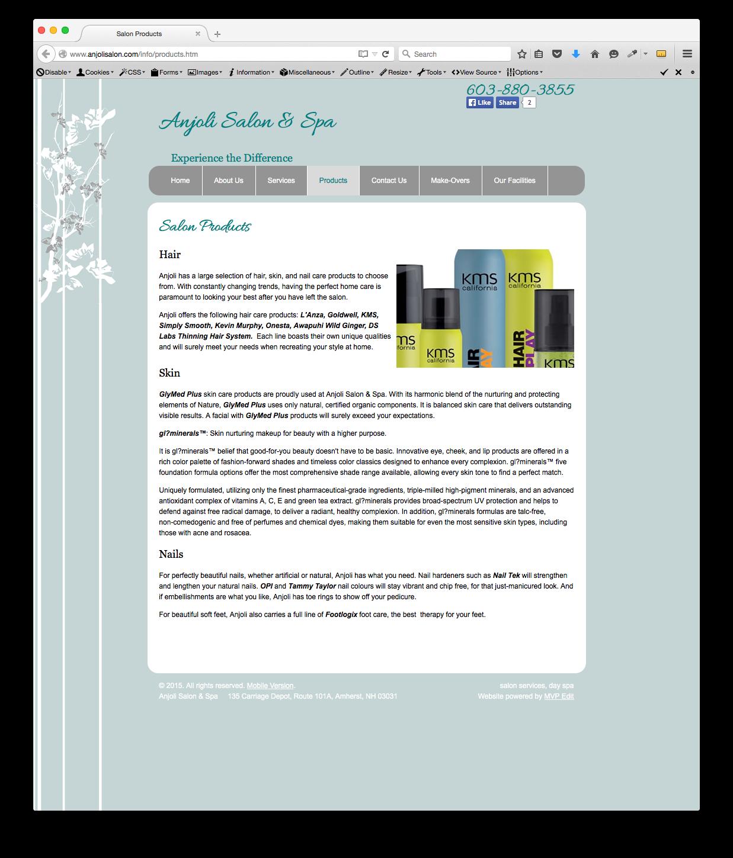 anjoli salon product slideshow